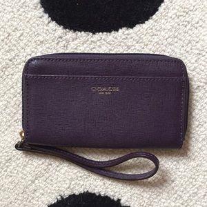 Coach Purple Zip Wallet/Wristlet with Self Strap